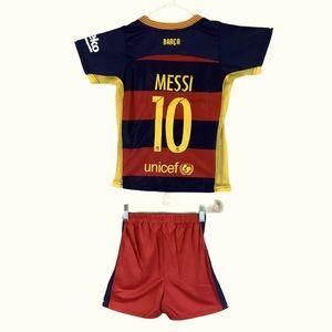NWT Nike Barcelona Messi Kids Soccer Jersey Set